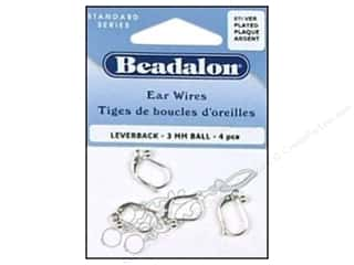 Beadalon Ear Wires Leverback 3mm Ball NF Slv 4pc