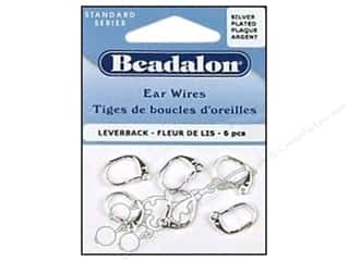 Jewelry Making Supplies $6 - $7: Beadalon Ear Wires Leverback Fleur Nickel Free Silver Plated 6 pc.