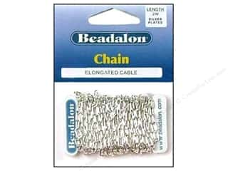 Chains inches: Beadalon Elongated Cable Chain 3.4 mm (.236 in.) Silver Plated 2 m (6.56 ft.)