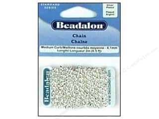 jewelry chains: Beadalon Medium Curb Chain 4.1 mm (.161 in.) Silver Plated 2 m (6.56 ft.)