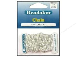 Chains Beading & Jewelry Making Supplies: Beadalon Figaro Chain 2.2 mm (.087 in.) Silver Plated 2 m (6.56 ft.)