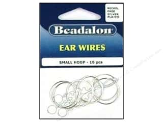 beadalon earring: Beadalon Ear Wires Bead Hoops Small 20 mm Nickel Free Silver Plated 16 pc.