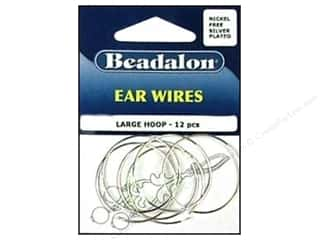 beadalon earring: Beadalon Ear Wires Bead Hoops Large 30 mm Nickel Free Silver Plated 12 pc.