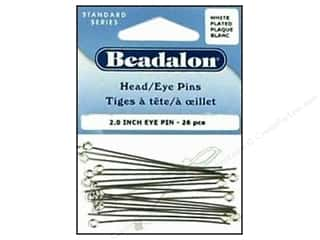 "round nose pliers: Beadalon Eye Pins 2.0"" White plated 26 pc"