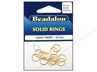 Jump Rings / Spring Rings: Beadalon Solid Ring 10mm Light Twist Gold 12 pc