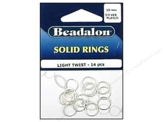 Beadalon Jump Rings/Spring Rings: Beadalon Solid Rings Light Twist 10 mm Silver 14 pc.