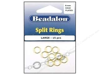 Beadalon Jump Rings/Spring Rings: Beadalon Split Rings Large 8 mm Gold 15 pc.