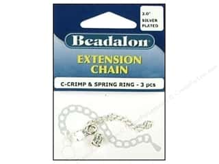 Beadalon C-Crimp Suede Cord Ends w/Chain Slvr 3pc
