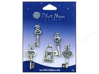 Charms Blue Moon Beads Pendant: Blue Moon Beads Metal Charms Key Assorted 5pc Oxidized Silver