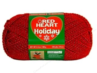 Red Heart Holiday Yarn #9040 Red/Silver 3.5 oz