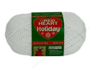 Canvas 5 Yards: Red Heart Holiday Yarn #140 White/Silver 3.5 oz.