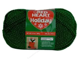 Canvas 5 Yards: Red Heart Holiday Yarn #6040 Green/Silver 3.5 oz