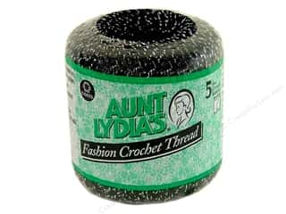 Aunt Lydia's Fashion Crochet Metallics Size 5 Black/Silver
