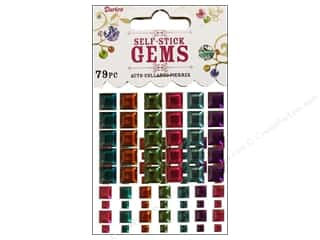 flat back rhinestone: Darice Self Stick Gems Square Vibrant 79pc