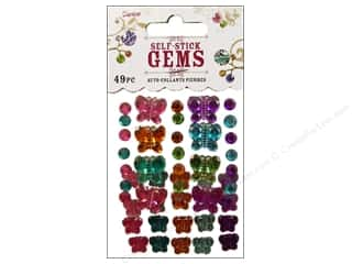 flat back rhinestone: Darice Self Stick Gems Rnd Vibrant Butterfly 49pc