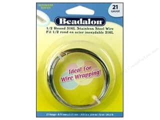 Wire Stainless: Beadalon Stainless Steel Wire Half Round 316L 21Ga 39.4 ft.