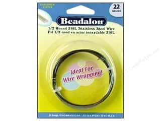 Wire Stainless: Beadalon Stainless Steel Wire 1/2 Round 316L 22ga 49.2 ft.