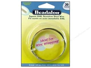 beadalon steel wire: Beadalon 316L Stainless Steel Wrapping Wire 20 ga Square