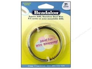 Wire Stainless: Beadalon 316L Stainless Steel Wrapping Wire Square 21 ga 14.8 ft.
