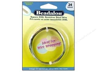 beadalon steel wire: Beadalon Stainless Steel Wrapping Wire Square 24 ga