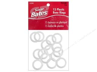 "Susan Bates Clearance Crafts: Bates Luxite Bone Rings 1"" 15pc"