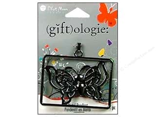Blue Moon Pendant GO Metal Sq Butterfly Black Nkl