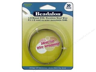Wire Stainless: Beadalon 316L Stainless Steel Wrapping Wire Half Round 20 ga 29.5 ft.