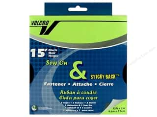 fasteners: Velcro Sew On & Sticky Back 1 in. x15 ft. Black (15 feet)