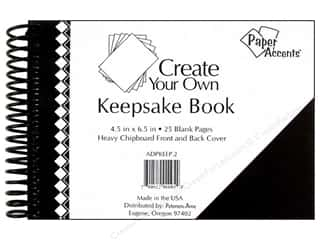 "Boards $4 - $5: Paper Accents Create Your Own Keepsake Book 6.5""x 4.5"" 25pg Black Cover"