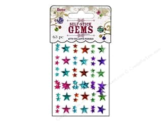 flat back rhinestone: Darice Self Stick Gems Assorted Stars Vibrant