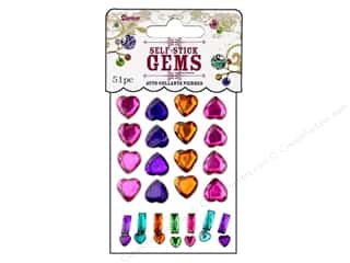 flat back rhinestone: Darice Self Stick Gems Assorted Hearts Vibrant