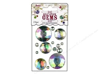 Darice Self Stick Gems Large Assorted Round Clear Aurora Borealis