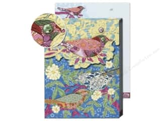Punch Studio Note Pad Pocket Patchwork Bird Aqua