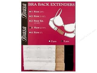 "Braza Bra Back Extender 3 Hook 2.25"" Assorted 3pc"