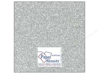 Scrapbooking & Paper Crafts Solid Cardstock: Cardstock 12 x 12 in. #5117 Glitz Silver/Platinum by Paper Accents (25 sheets)