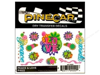 Pinecars Rub-Ons: PineCar Decals Transfer Peace & Love