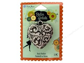 Blue Moon Pendants Bella Artiste Resin Heart Carved Black/White