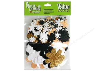 Petaloo FloraDoodles Paper N Glitter Blk/Gold/Wht