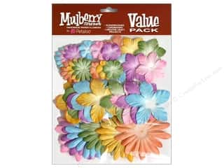 Flowers / Blossoms $6 - $22: Petaloo Mulberry Value Pack Assorted Pastels 36pc