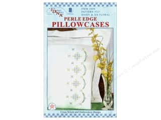 square hoop: Jack Dempsey Pillowcase Perle Edge White Daisy & XX Floral