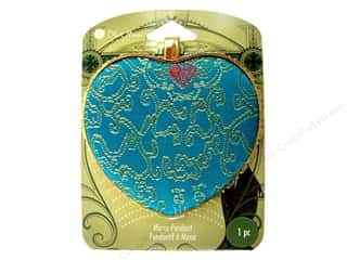 Blue Moon Mirror Pendant Blue Embroidered Heart