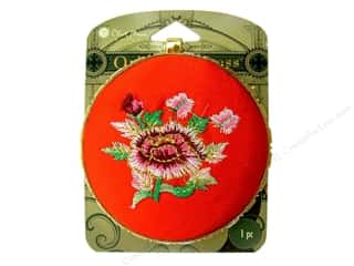 Blue Moon Mirror Pendant Red Embroidered Round