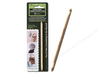 bamboo crochet hook clover: Clover Crochet Hook Tunisian Double Ended Size H