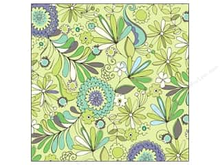 Flowers K&Company 12 x 12 in. Paper: K&Company Paper 12x12 Poppyseed Thermography Glitter Flowers (12 sheets)