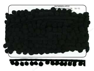 Cheep Trims Pom Pom 1/2&quot; Fringe 1&quot; Black (18 yards)