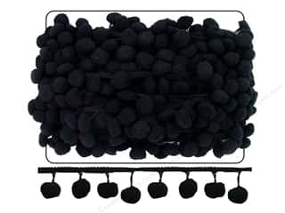 Cheep Trims Pom Pom 1&quot; Fringe 1 1/2&quot; Black (18 yards)