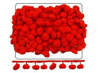 "Cheep Trims Pom Pom 1"" Fringe 1 1/2"" Red (18 yards)"