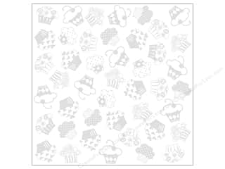 Bazzill 12 x 12 in. Cardstock Glazed Cupcake Bazzil White