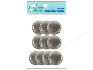 Paper Accents Bottle Caps 10pc Bright Silver
