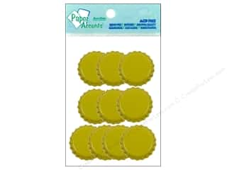 Bottles: Paper Accents Bottle Caps 10pc Yellow